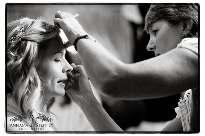 Natural shot of bridal makeup prep