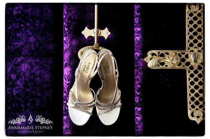 Creative shot of brides Vanelli wedding shoes