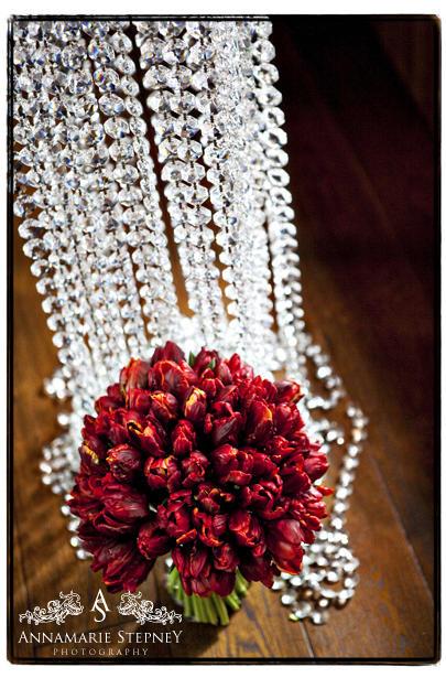Creative wedding shot of brides flowers