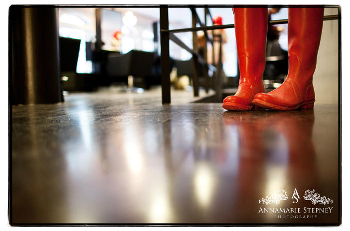 Creative wedding shot of the bridal shoes at The Peasant, Clerkenwell