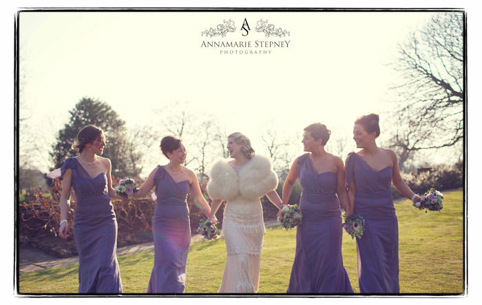 Bride with Bridesmaids in the sunshine ~ Eltham Palace, London Wedding Photographer ~ Annamarie Stepney