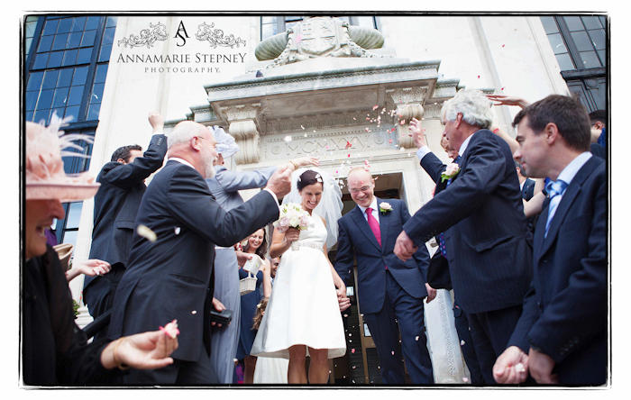 Outside Islington Town Hall, confetti shot ~ Annamarie Stepney Photography