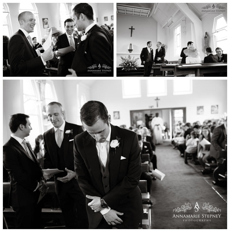 Groom looking nervous in chuch ~ Elvetham Hotel Wedding