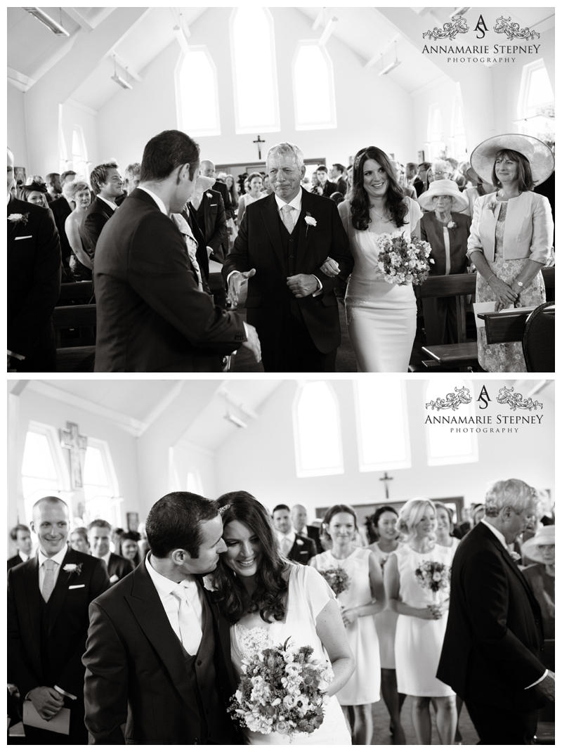 Beautiful moment when the Father of the bride shakes hands with the groom and hands over his daughter ~ Elvetham Hotel Wedding