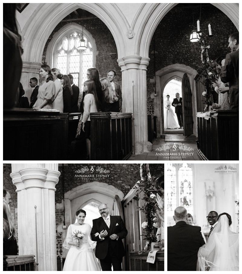 Bride coming into church with father, really special moment captured ~ Hampden House Wedding